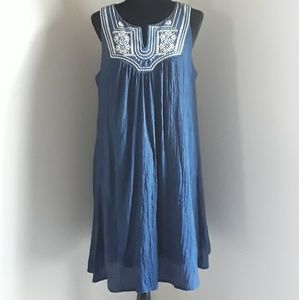 Navy Embroidered Shift Dress Luxology